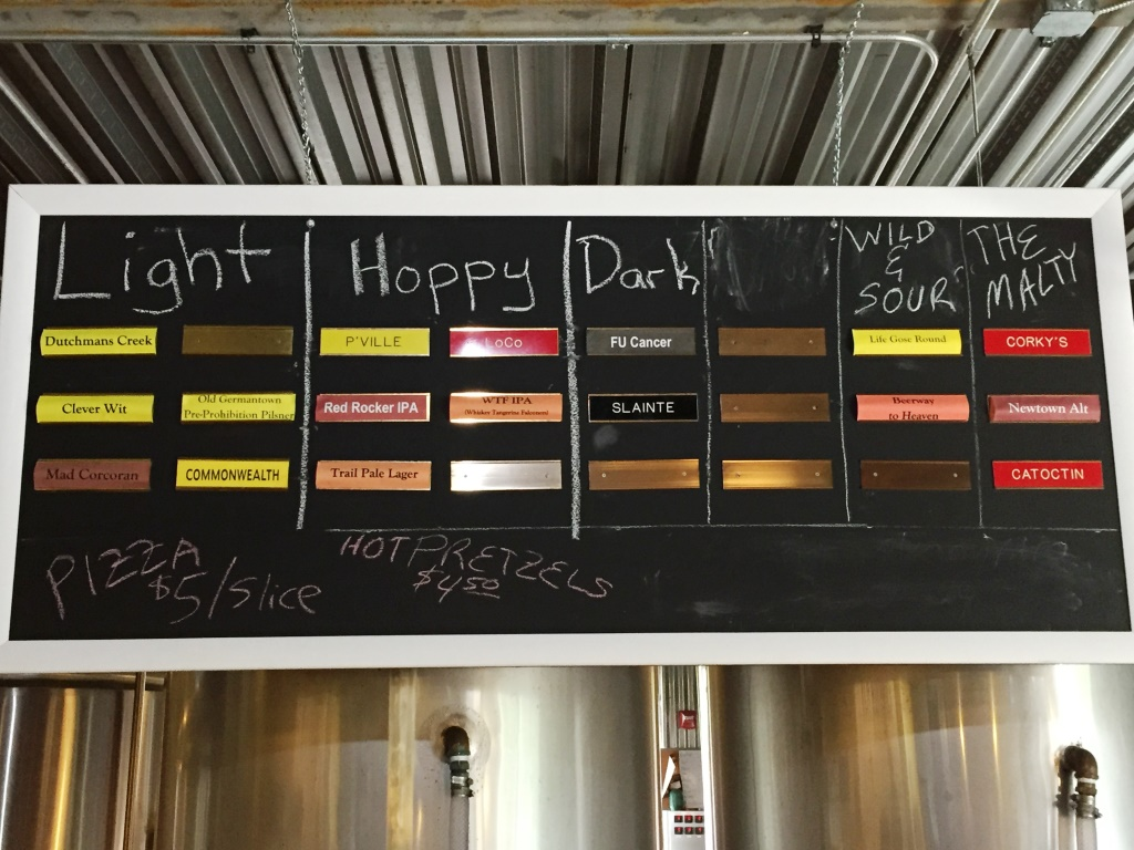 Corcoran Brewing Company menu