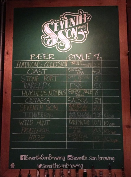 Seventh Son Brewery chalkboard