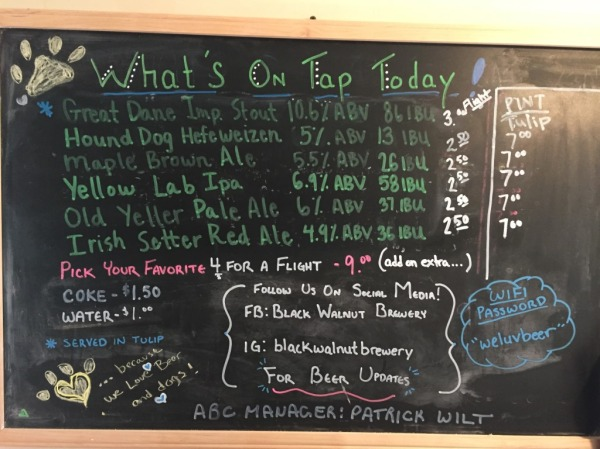 Black Walnut Brewery chalkboard