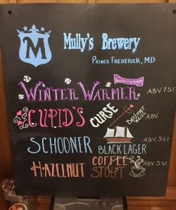 Mully's Brewery chalkboard
